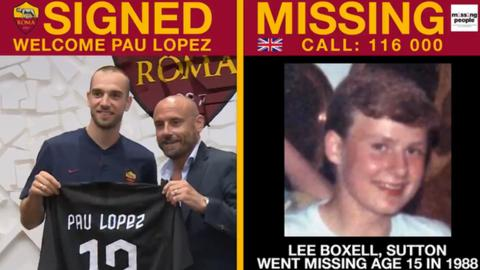 sport Tweet showing Roma's announcing Paul Lopez signing alongside an image of Lee Boxell, who went missing 31 years ago aged 15