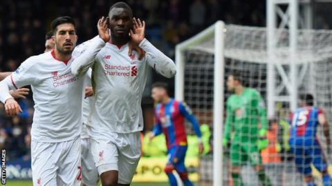 Christian Benteke celebrates scoring for Liverpool against Crystal Palace