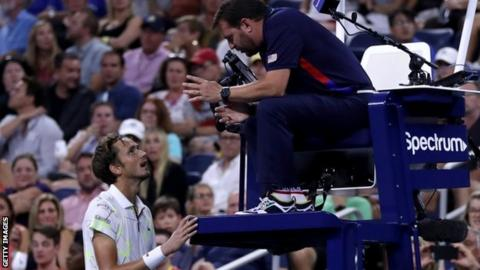Daniil Medvedev remonstrates with the umpire