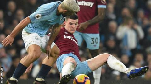 West Ham midfielder Declan Rice