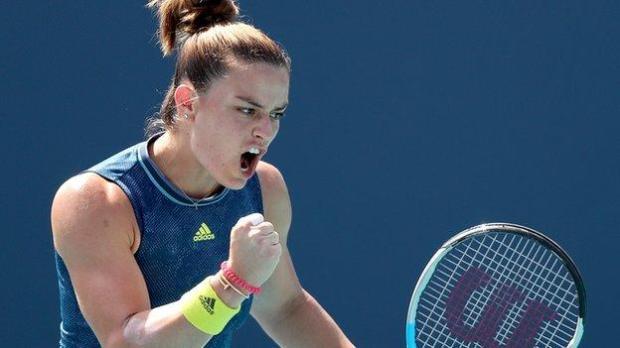 Maria Sakkari celebrates winning at the Miami Open