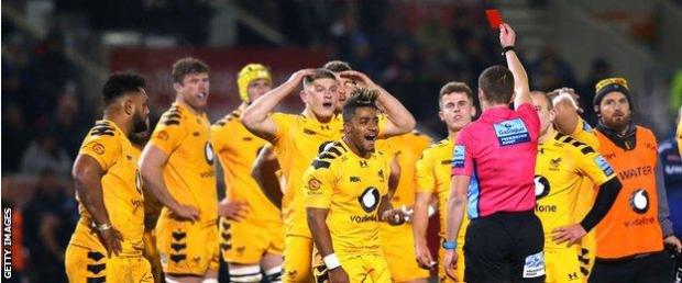 Paolo Odogwu reacts after his sending off in the defeat by Sale in November 2019