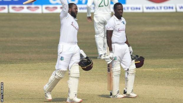 West Indies' Kyle Mayers and Nkrumah Bonner