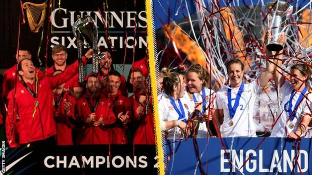 Wales lift the men's Six Nations trophy and England lift the Women's Six Nations
