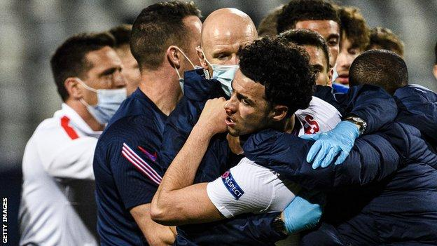 England Under-21s midfielder Curtis Jones had to be stopped from confronting the Croatia players