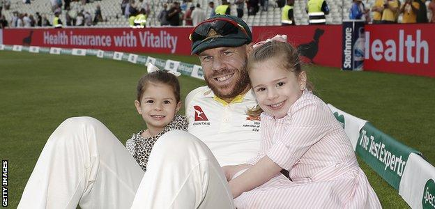 David Warner with his daughters
