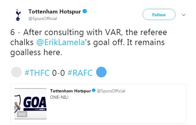 Tottenham twitter account