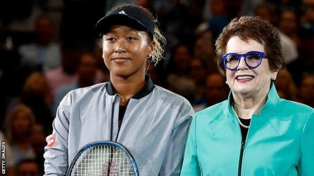 Naomi Osaka and Billie Jean King before the 2018 US Open final