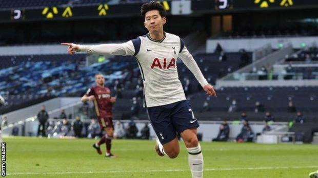Son Heung-min celebrates scoring against Leeds