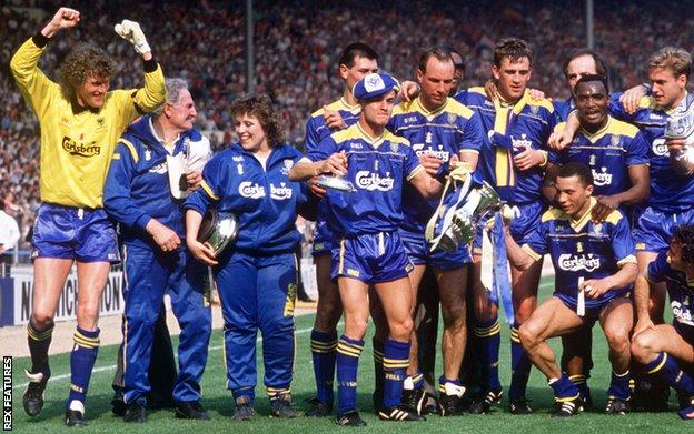 Wimbledon celebrate winning the 1988 FA Cup
