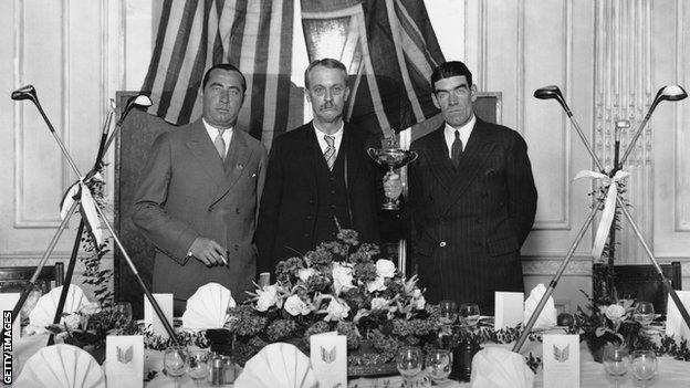 foot ball Founder of the Ryder Cup Samuel Ryder with American team captain Walter Hagen and British team captain George Duncan