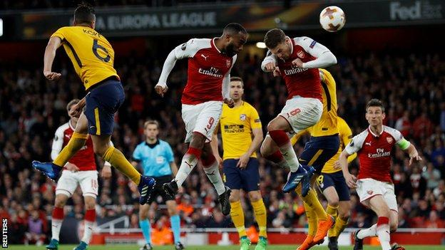 Alexandre Lacazette heads Arsenal's goal against Atletico Madrid