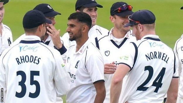 Teenage paceman Manraj Johal got the chance to make his first-class debut in the absence of England all-rounder Chris Woakes
