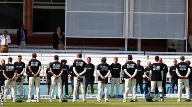 England players and support staff wear anti-discrimination T-shirts before the opening day of the first Test against New Zealand at Lord's