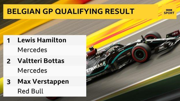 The top three in qualifying: 1st Lewis Hamilton (Mercedes), 2nd Valtteri Bottas (Mercedes), 3rd Max Verstappen (Red Bull)