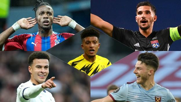 Wilfried Zaha, Houssem Aouar, Dele Alli, Declan Rice and Jadon Sancho are among those who could move on transfer deadline day