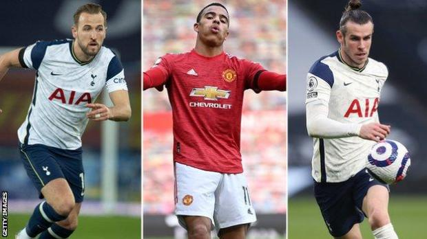 A split picture of Harry Kane, Mason Greenwood and Gareth Bale