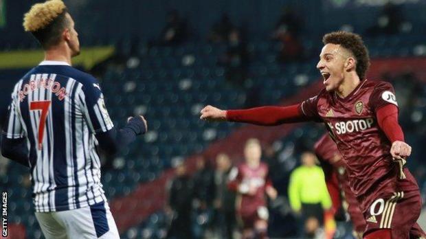 Rodrigo celebrates scoring Leeds' fourth goal