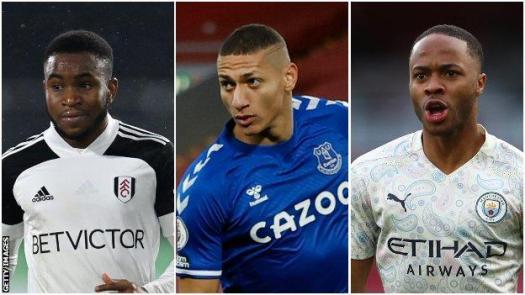 Ademola Lookman (Fulham), Richarlison (Everton), Raheem Sterling (Manchester City)