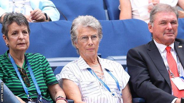 Virginia Wade watching Emma Raducanu's US Open fourth-round match