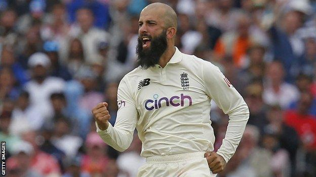 England all-rounder Moeen Ali celebrates taking a wicket in a Test against India