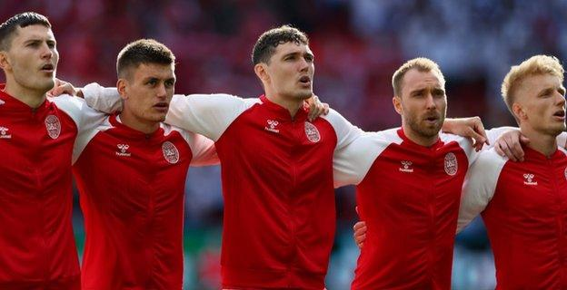 Christian Eriksen (second from right) and Denmark were playing their opening match of Euro 2020