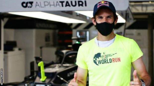 US Open tennis champion Dominic Thiem in the Alpha Tauri garage