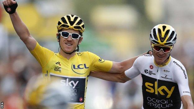 Geraint Thomas and Chris Froome finish in Paris