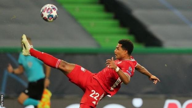 Serge Gnabry in action for Bayern Munich in the Champions League