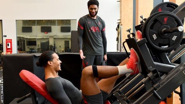 Liverpool defenders Virgil van Dijk and Joe Gomes have been going through their rehabilitation at the club's training centre in Kirkby