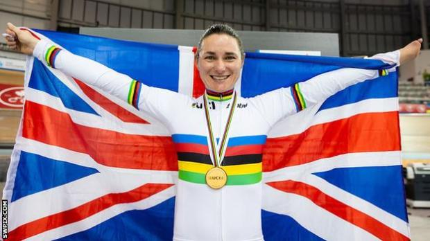 Sarah Storey holds the Union Jack after winning women's C5 pursuit gold at the 2020 World Championships