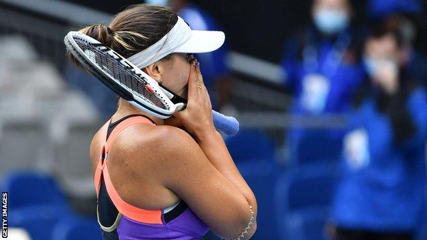 An emotional Bianca Andreescu after winning her first round match