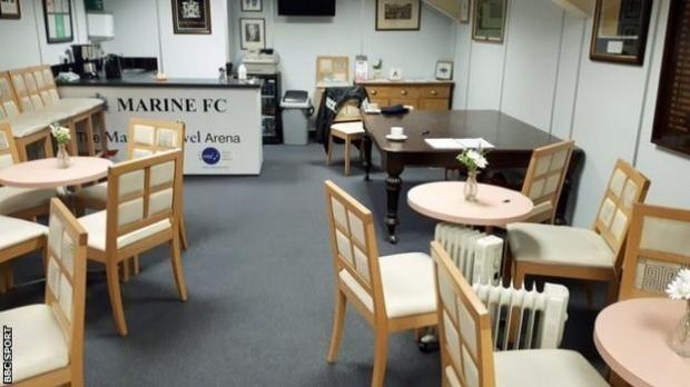 The boardroom at non-league Marine Football Club who host Tottenham Hotspur in the third round of the FA Cup