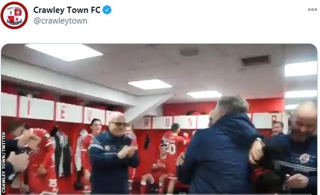 Crawley players celebrate after beating Leeds