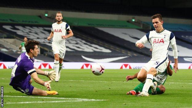Giovani Lo Celso scores Tottenham's fourth goal against Maccabi Haifa