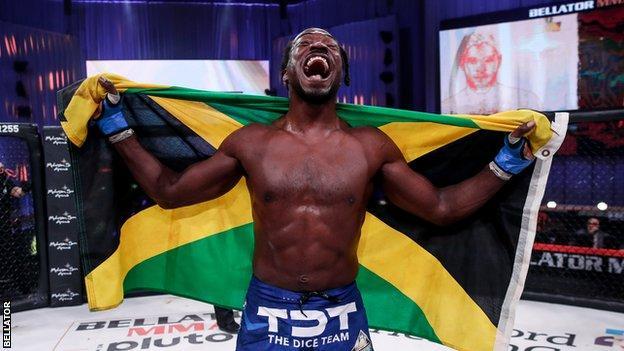 Jamaica's jason jackson celebrates victory over neiman gracie at bellator 255