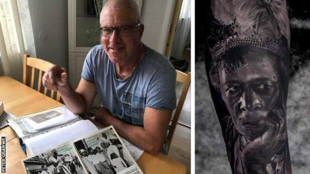 Split picture showing Peter Granwe and a photo of his son's Prince Monolulu tattoo