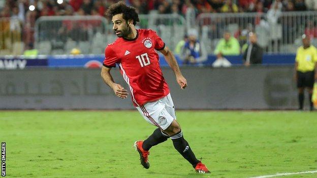 Mohamed Salah in action for Egypt