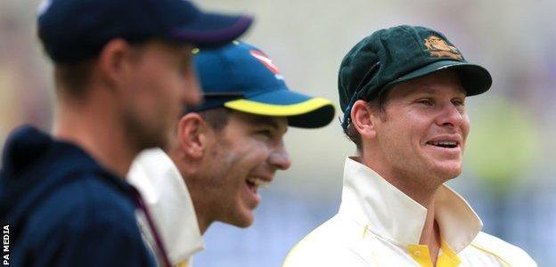 Steve Smith smiles