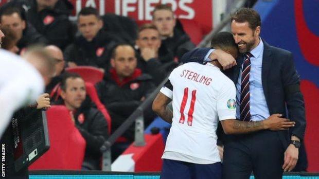 Gareth Southgate embraces Raheem Sterling
