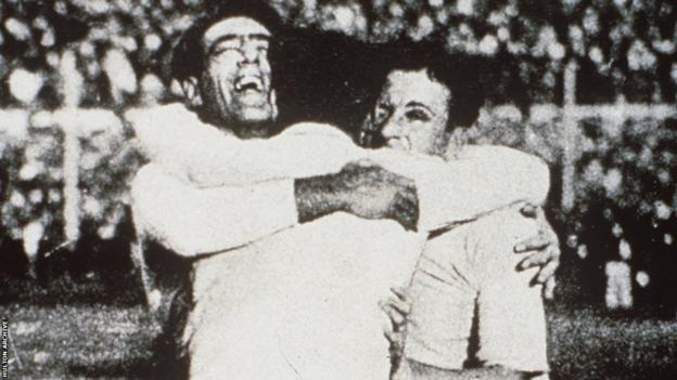 Uruguay celebrate winning the 1930 World Cup