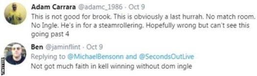 """One fan on Twitter describes Kell Brook's fight with Terence Crawford as """"one last hurrah"""" for the Briton, while another says he has """"not got much faith in Kell winning without Dom Ingle"""""""