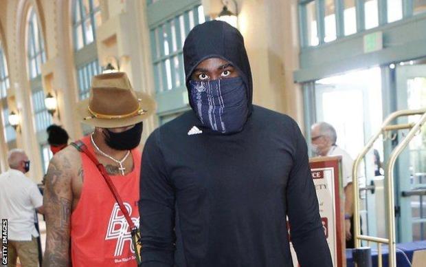 James Harden, pictured wearing a Blue Lives Matter mask