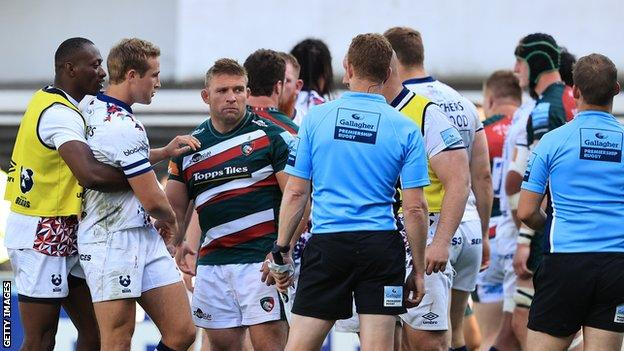 Leicester and Bristol players and staff clashed