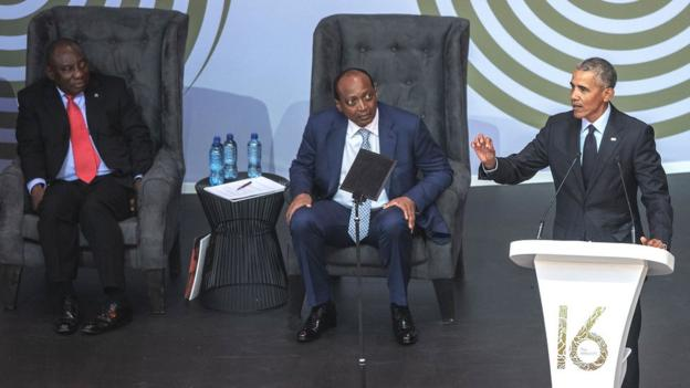 South Africa President Cyril Ramaphosa, Patrice Motsepe (centre) and former US President Barack Obama at the 2018 Nelson Mandela annual lecture