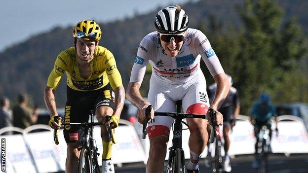 Primoz Roglic (left) and Tadej Pogacar (right) finish stage 15 of the Tour de France