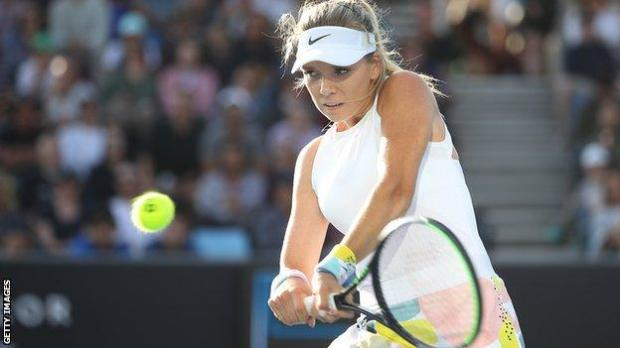 Katie Boulter hits a backhand