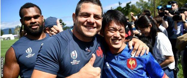 France's hooker Guilhem Guirado and a fan