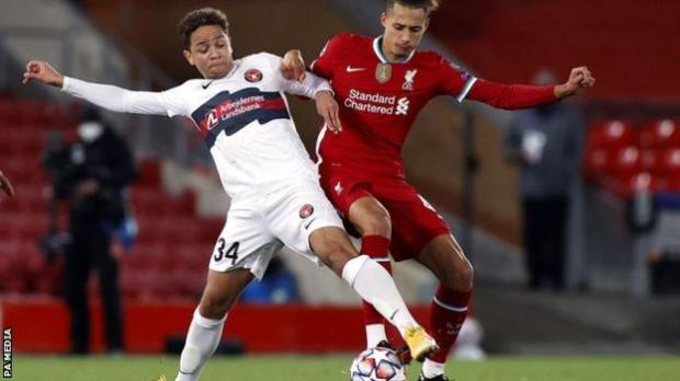 Nineteen-year-old Liverpool defender Rhys Williams (right) in action against Midtjylland in the Champions League