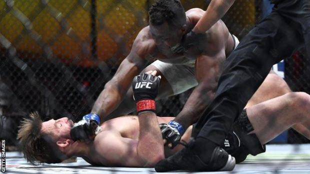 Francis Ngannou (right) knocks out Stipe Miocic